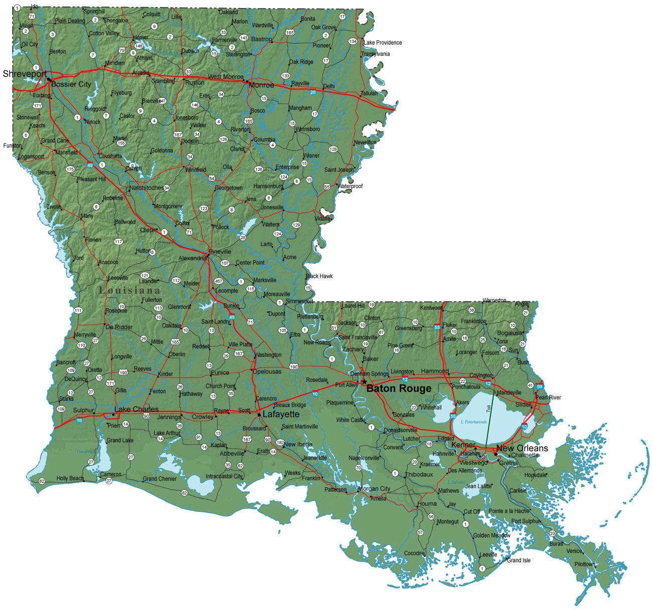 Detailed Louisiana Map  LA Terrain Map
