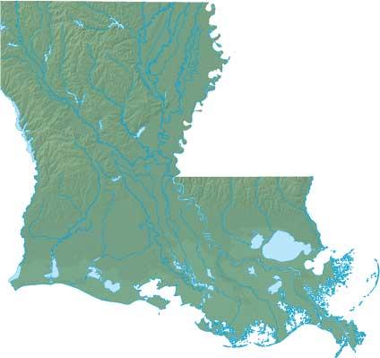 Louisiana relief map